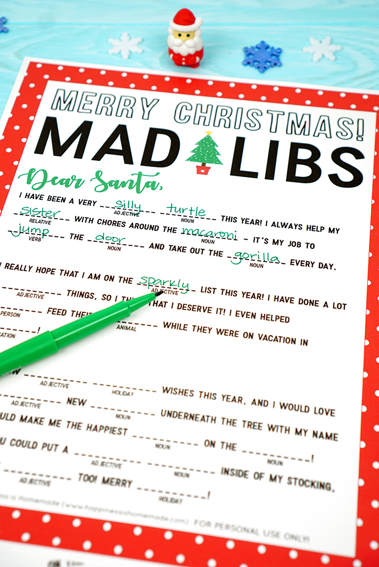 image relating to Christmas Mad Libs Printable called Ridiculous Libs Trip Alternatives Leancy Push