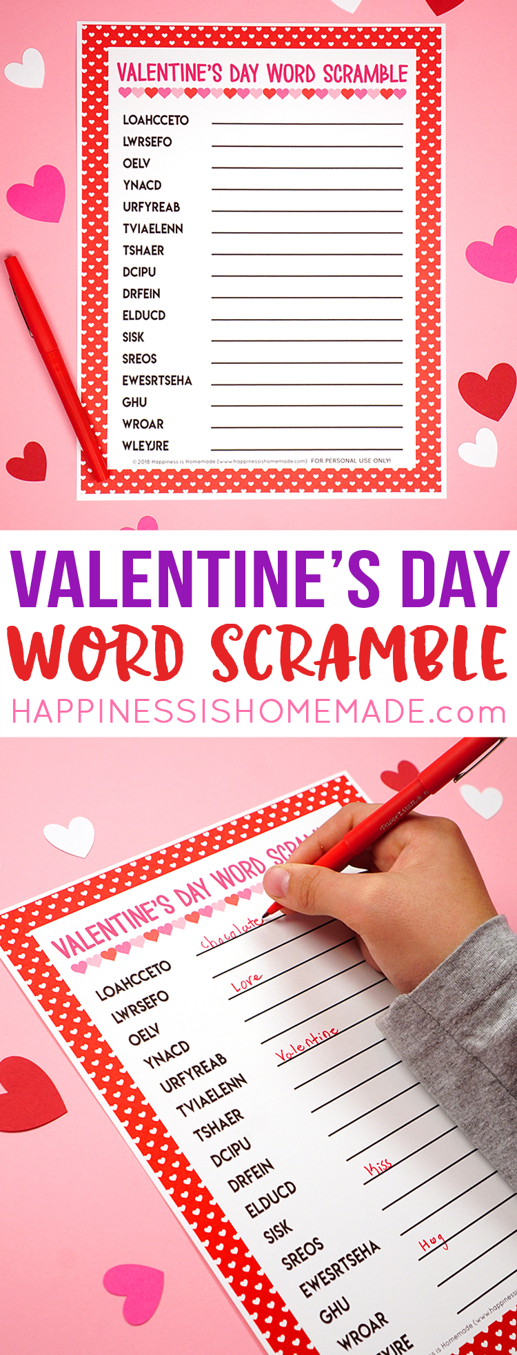 This printable Valentine's Day Word Scramble game is a ton of fun! It's the perfect Valentine's game for teachers, Scout troops, playgroups, family fun night, and more!