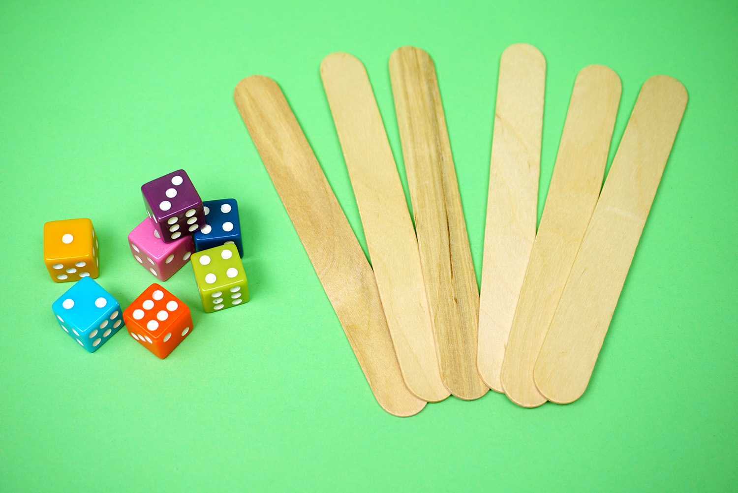 Dice and Craft Sticks - Minute to Win It Game Supplies