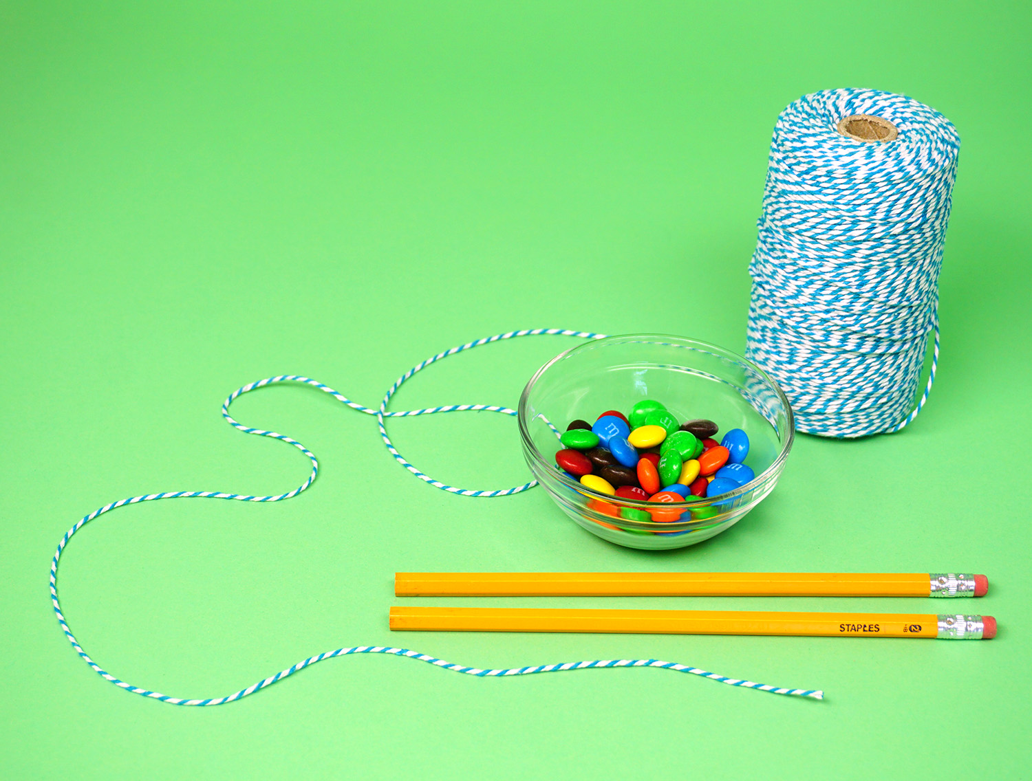 Minute to Win It Game Supplies - Pencils, Twine, and M&Ms