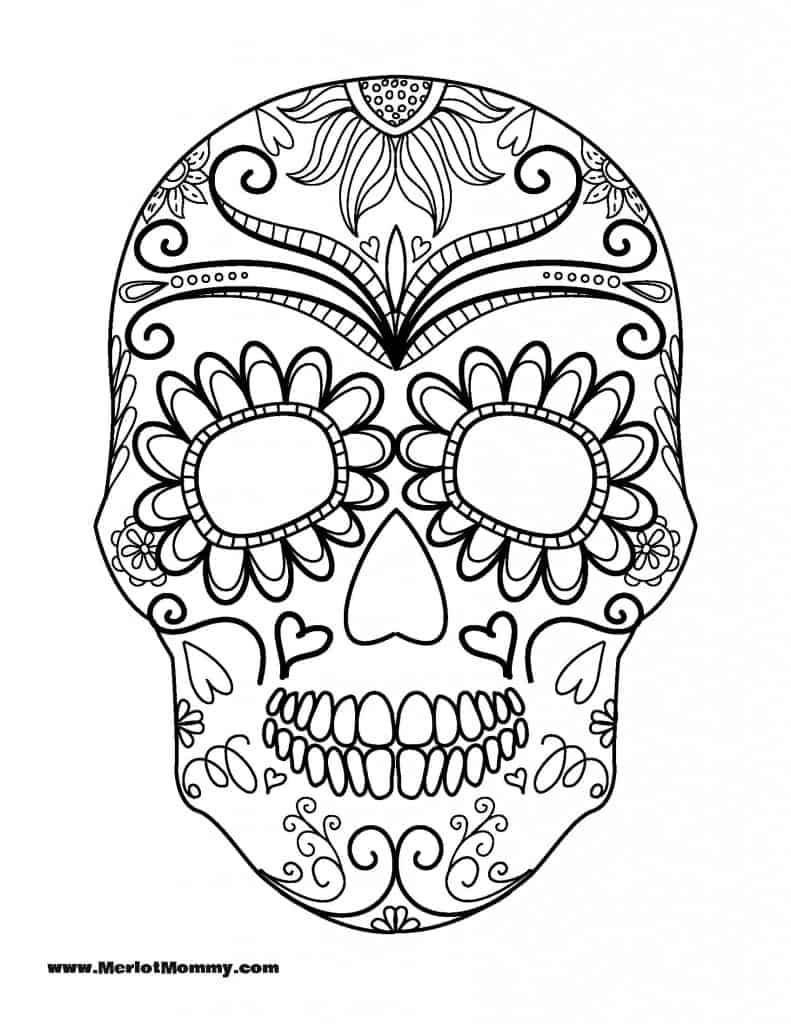 Sugar skull coloring page for Halloween