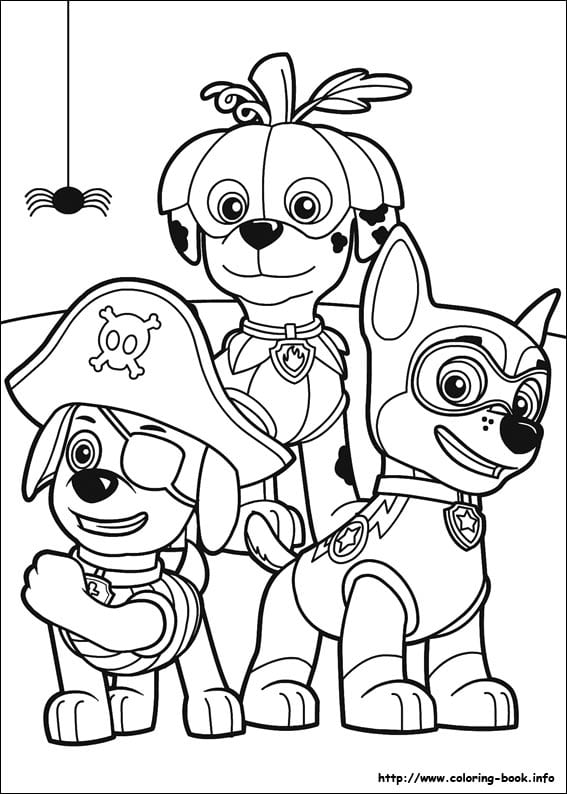 Paw Patrol Halloween coloring page - pups in costume
