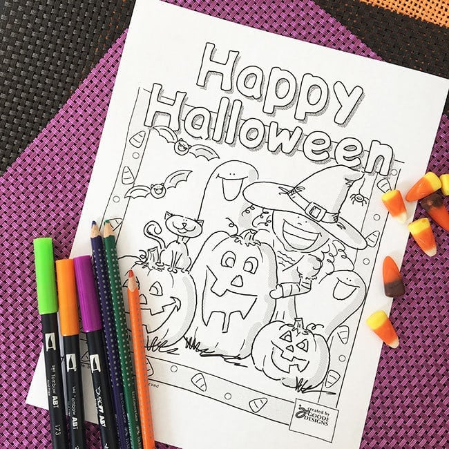 Happy Halloween Coloring Page with pumpkin patch