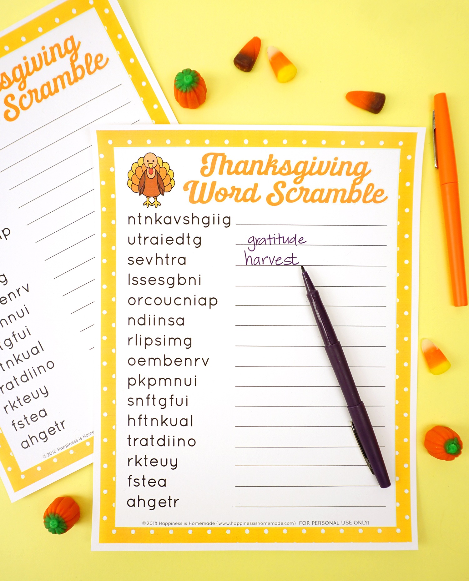 Thanksgiving Word Scramble Puzzle