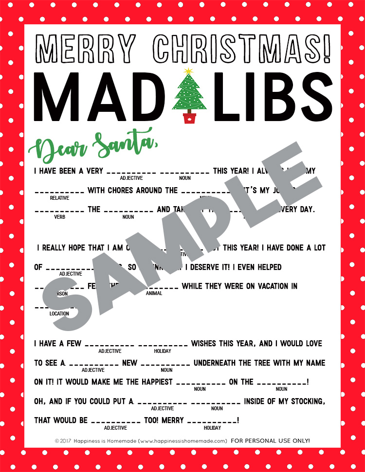 picture about Christmas Mad Libs Printable Free known as Family vacation Crazy Libs Printable Leancy Drive