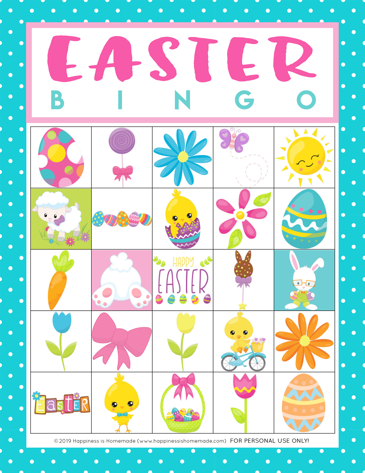 Free Printable Easter Bingo Game Cards