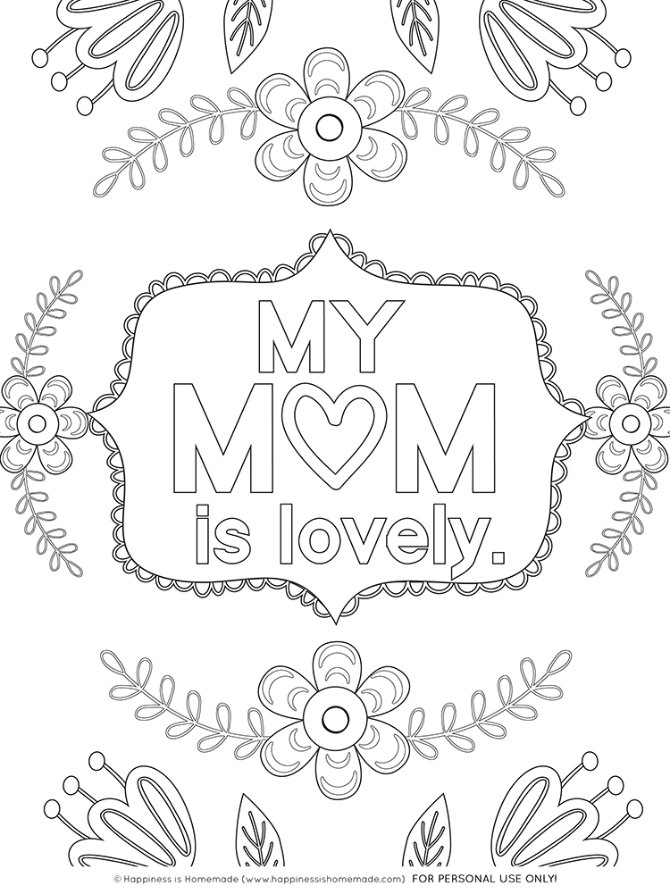 Mother S Day Coloring Pages Free Printables Happiness Is Homemade