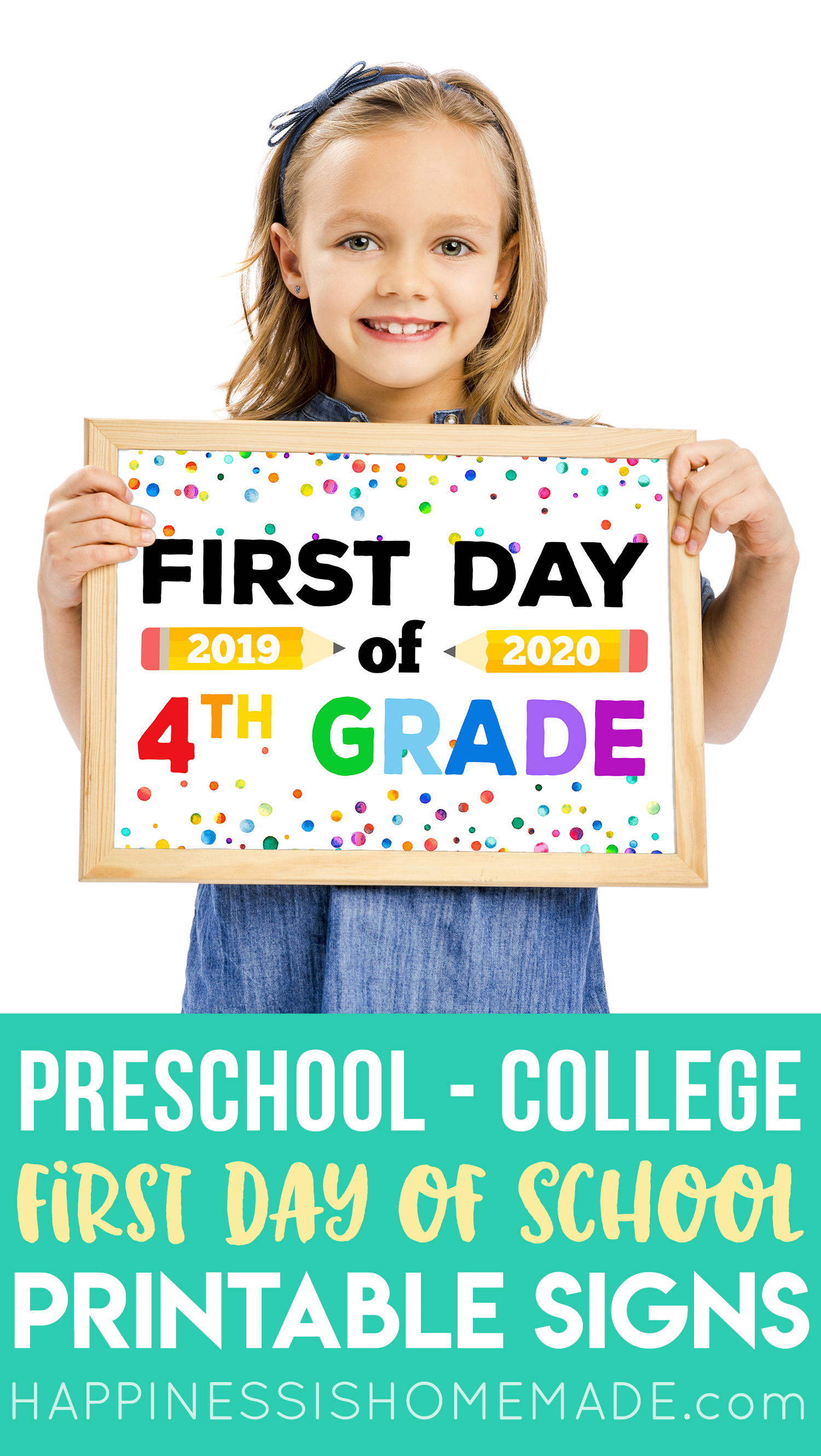 Free Printable First Day Of School Signs Happiness Is Homemade