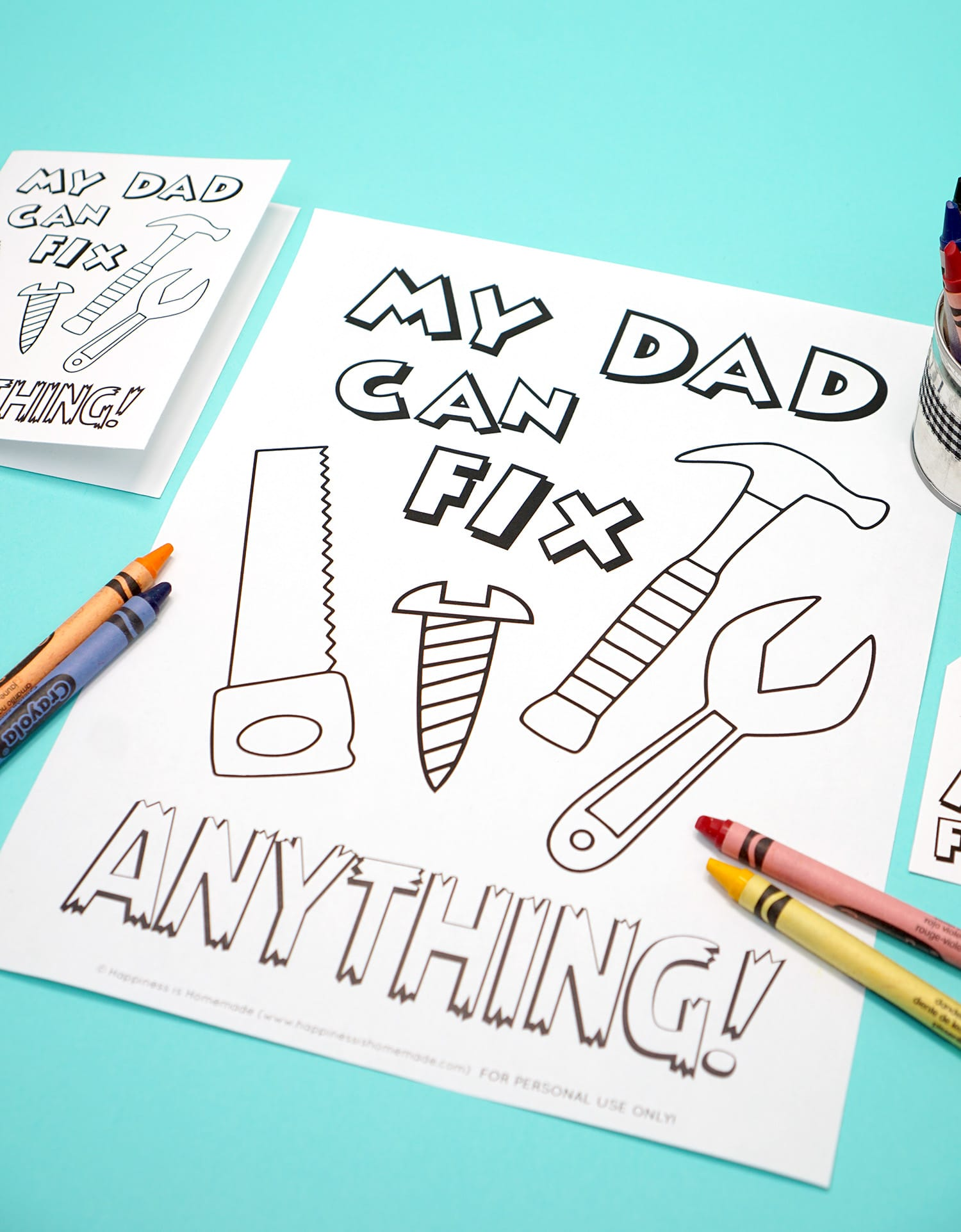 Printable Father's Day Card, Coloring Page, & Gift Tag Set - My Dad Can Fix Anything