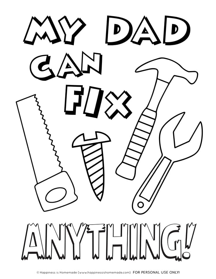 Printable Father S Day Card Coloring Page Happiness Is Homemade