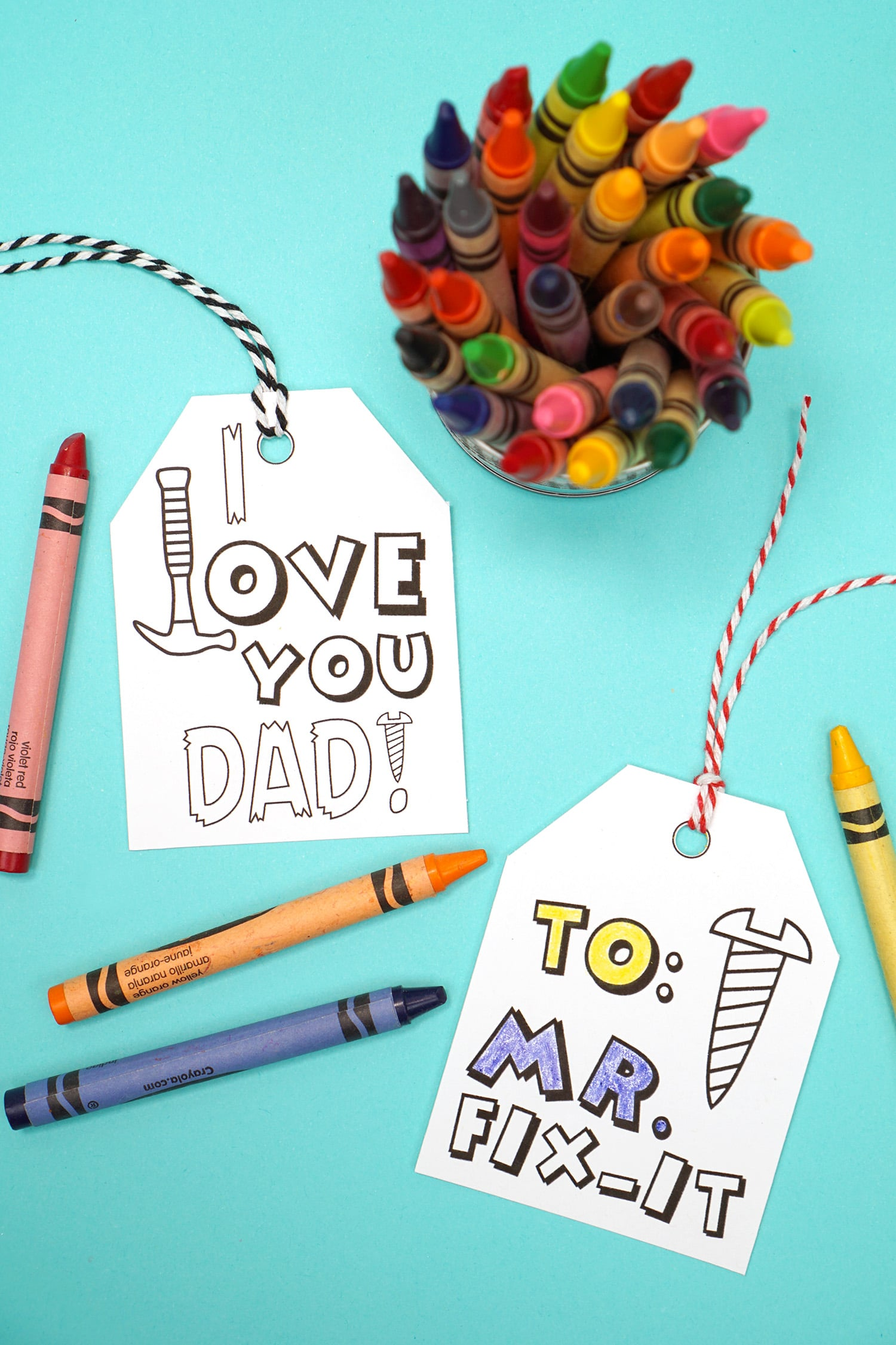 Free printable Father's Day gift tags and crayons