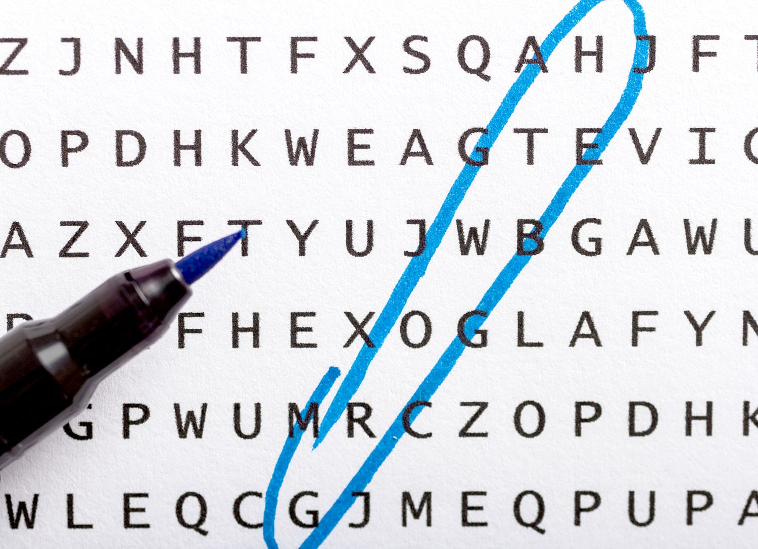 """Word search with the word """"growth"""" circled"""