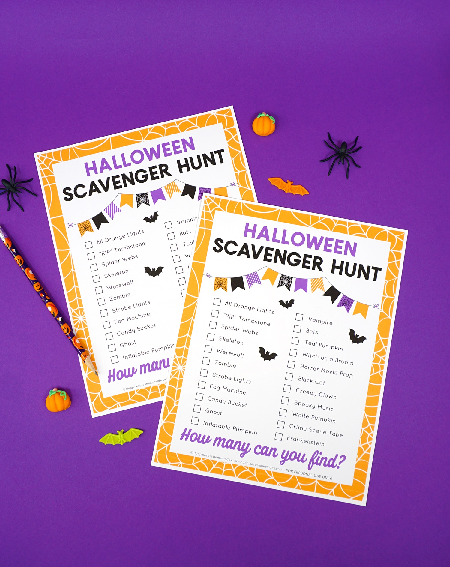 Two Halloween scavenger hunt printable games on a purple background surrounded by Halloween novelty toys