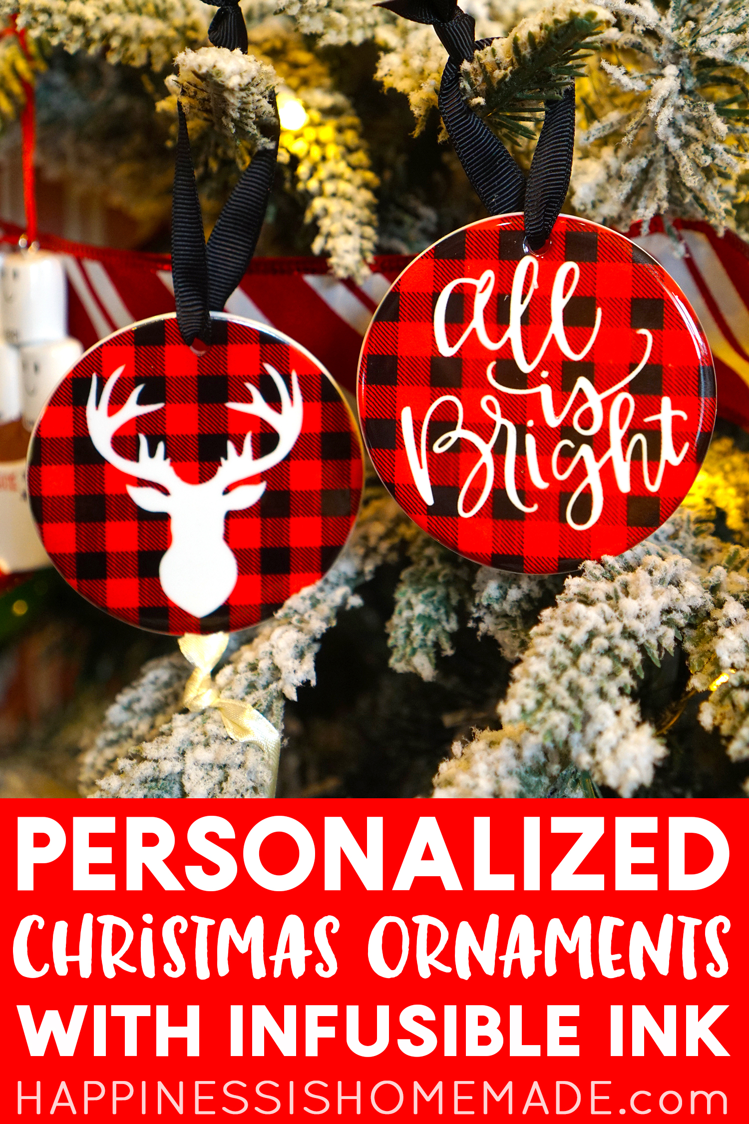 Personalized Buffalo Check Plaid Christmas Ornaments Made with Cricut Infusible Ink