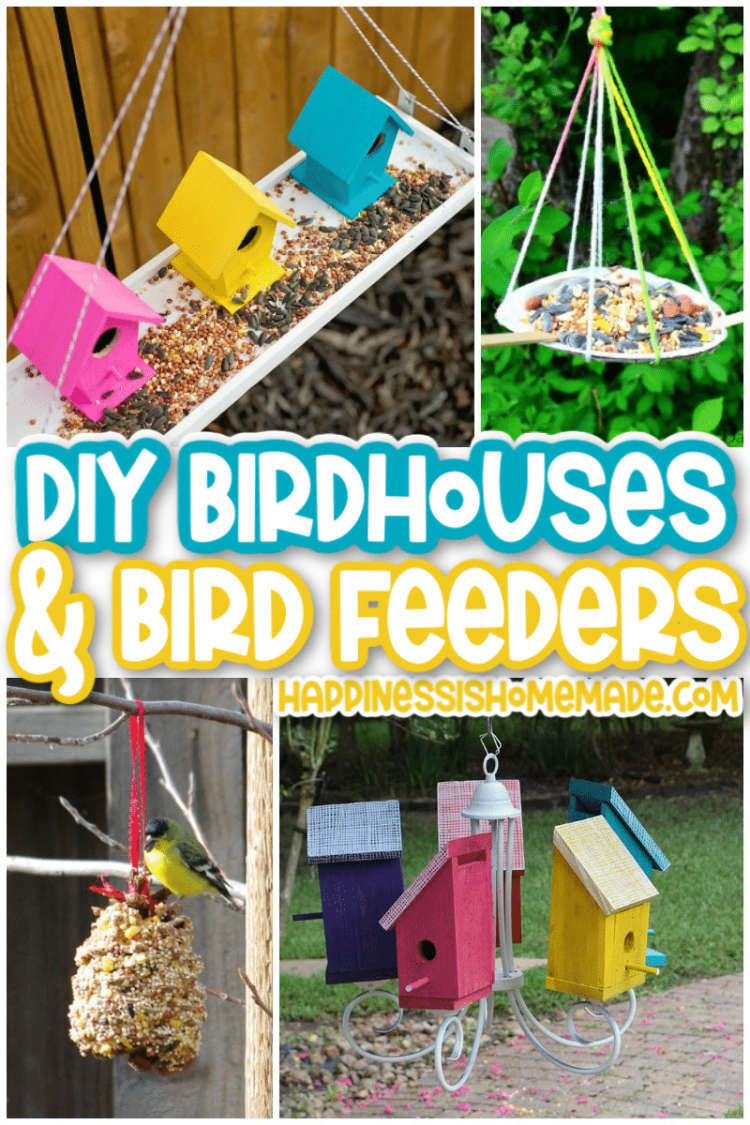 Pink, yellow and blue DIY birdhouses and bird feeders