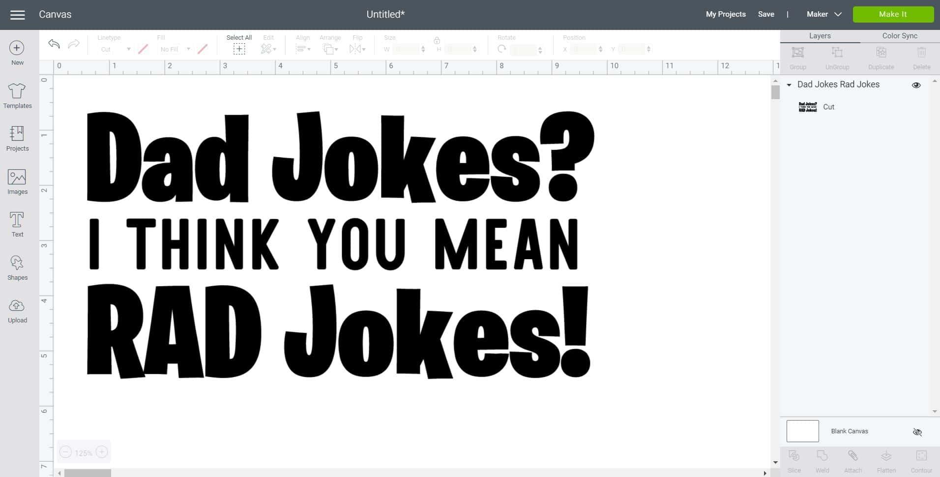 Dad Jokes SVG on Cricut Design Space canvas