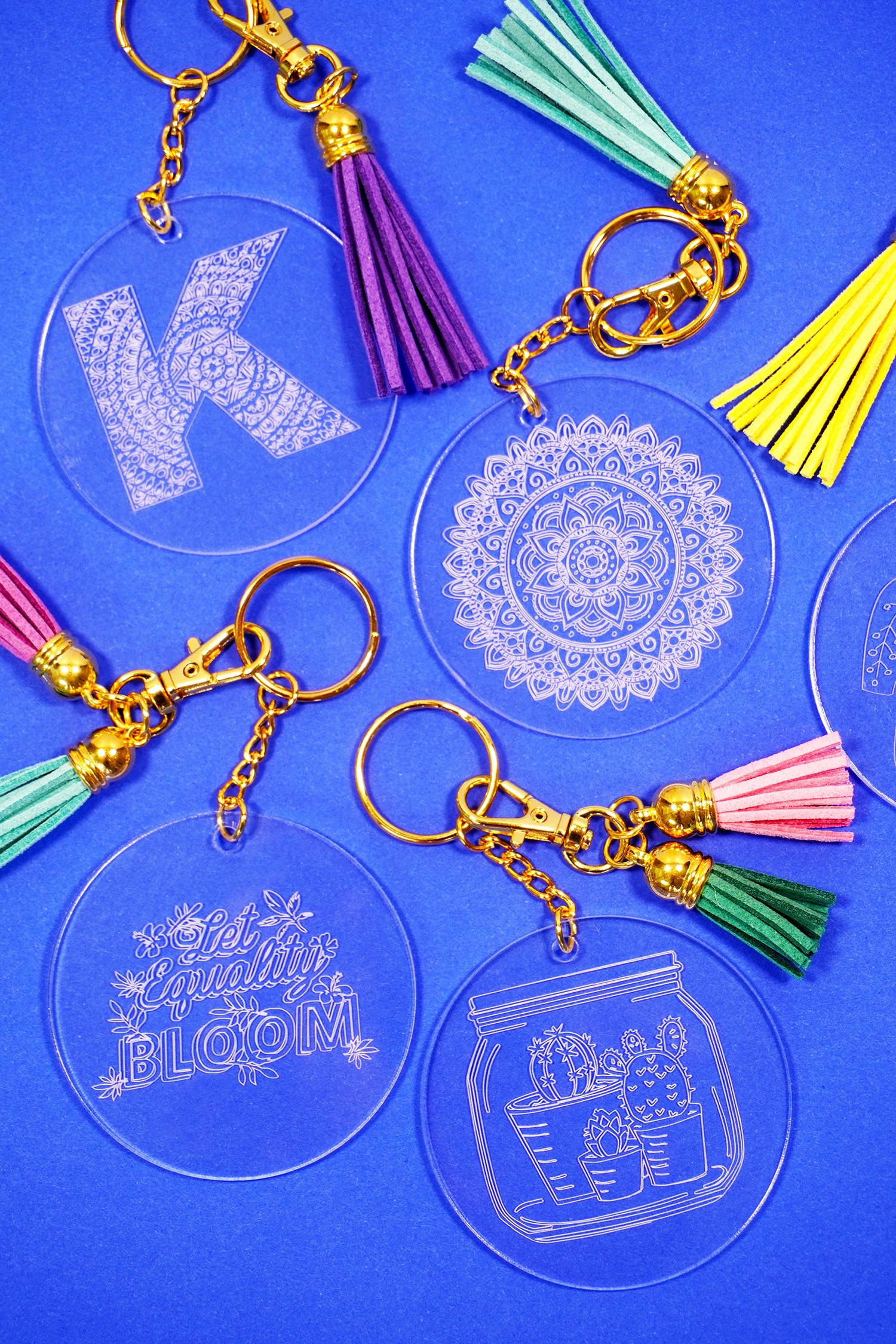 Cricut Maker engraved acrylic keychains made with the Cricut Engraving tool