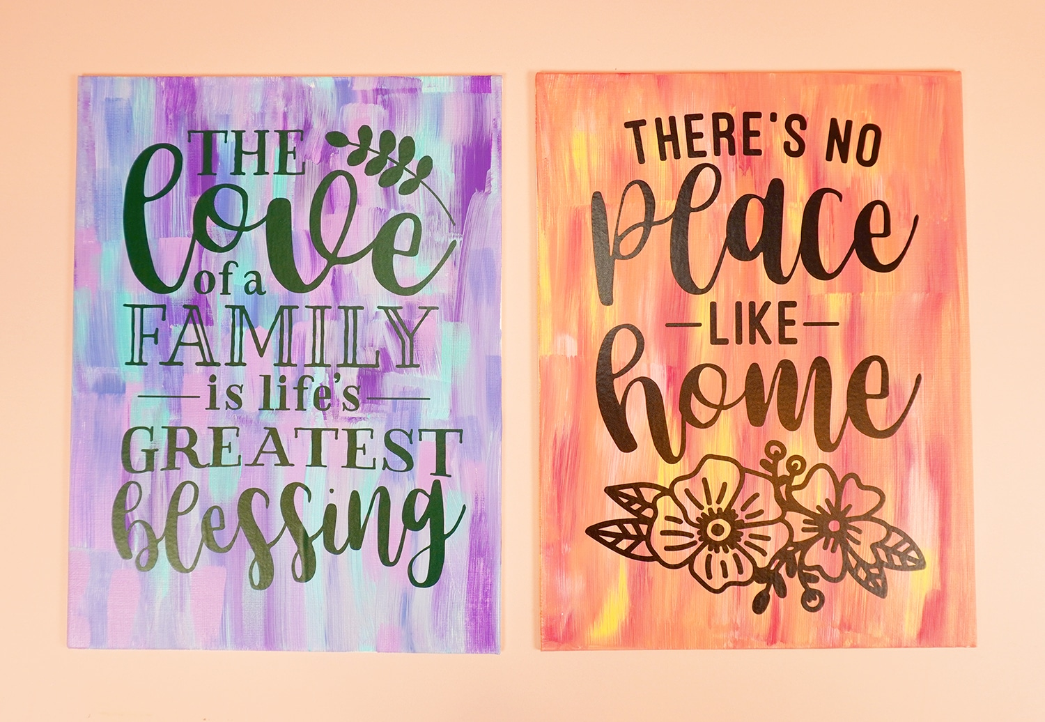 """Two """"hot mess"""" painted canvases with vinyl quotes on them"""