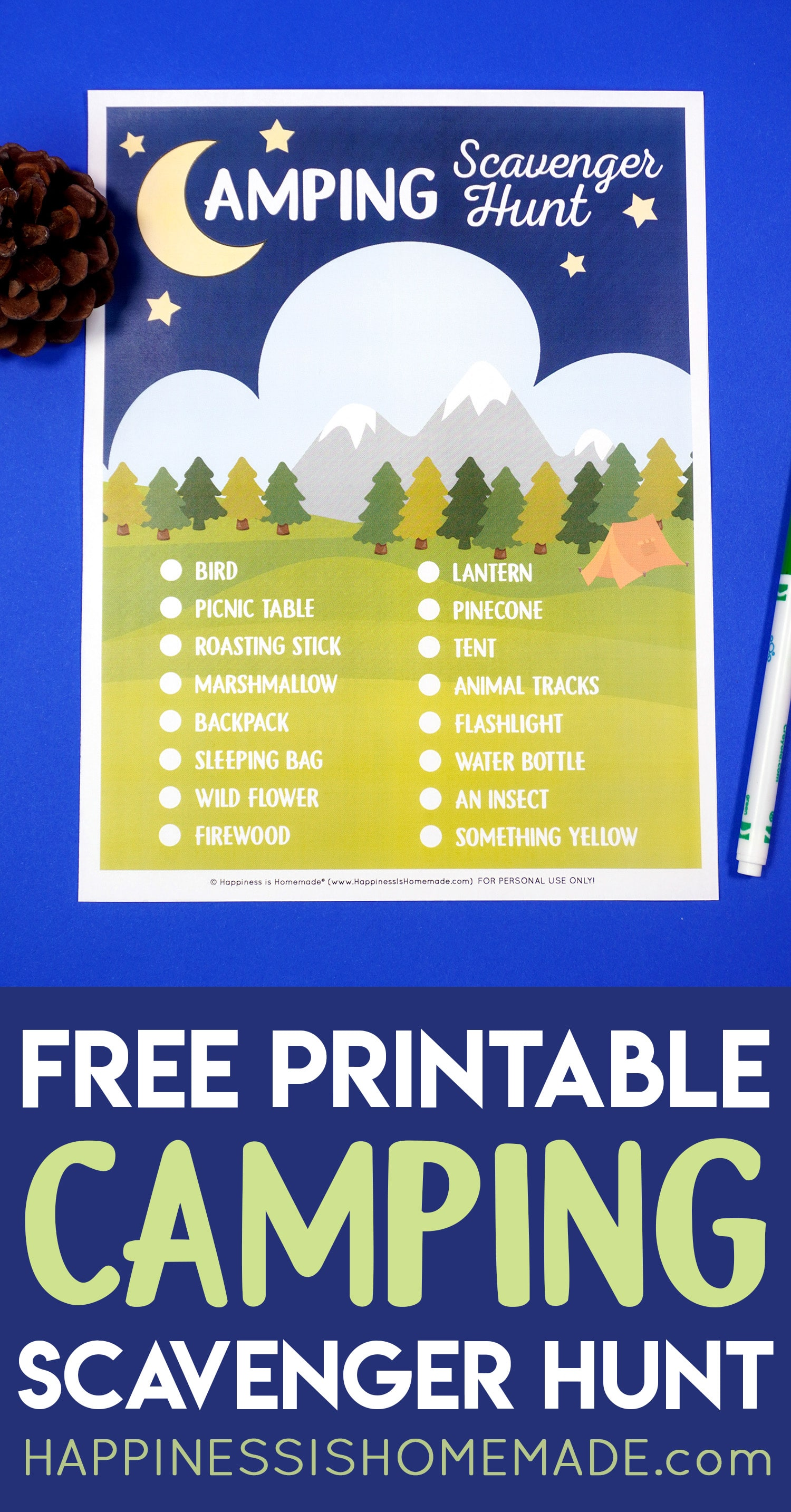 """""""Free Printable Camping Scavenger Hunt"""" graphic with printable game, pine cone, and pen"""