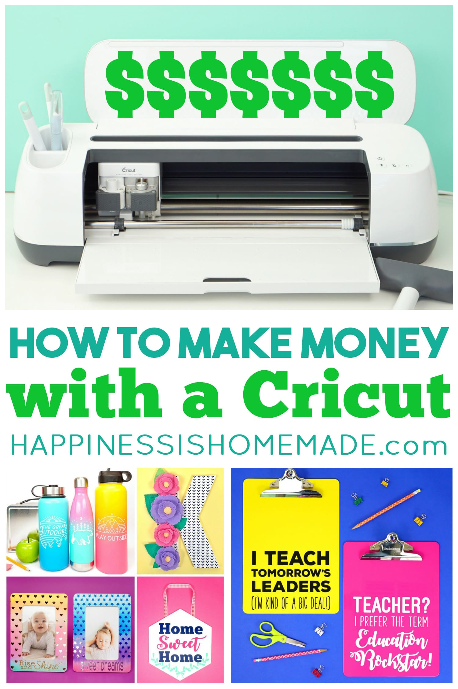 Cricut Maker machine and collage of various projects