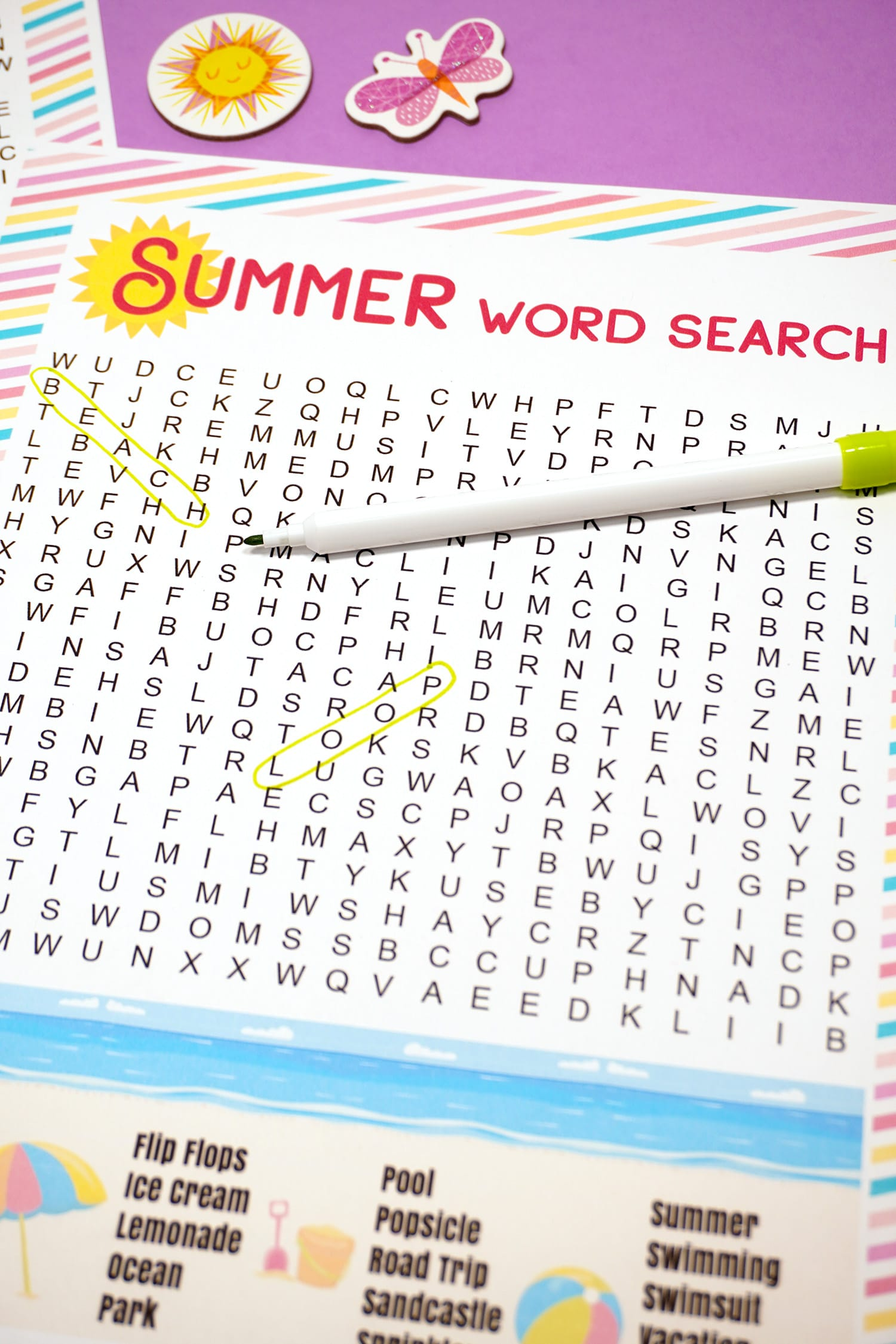 "Summer word search printable with ""Beach"" and ""Pool"" circled in green marker"