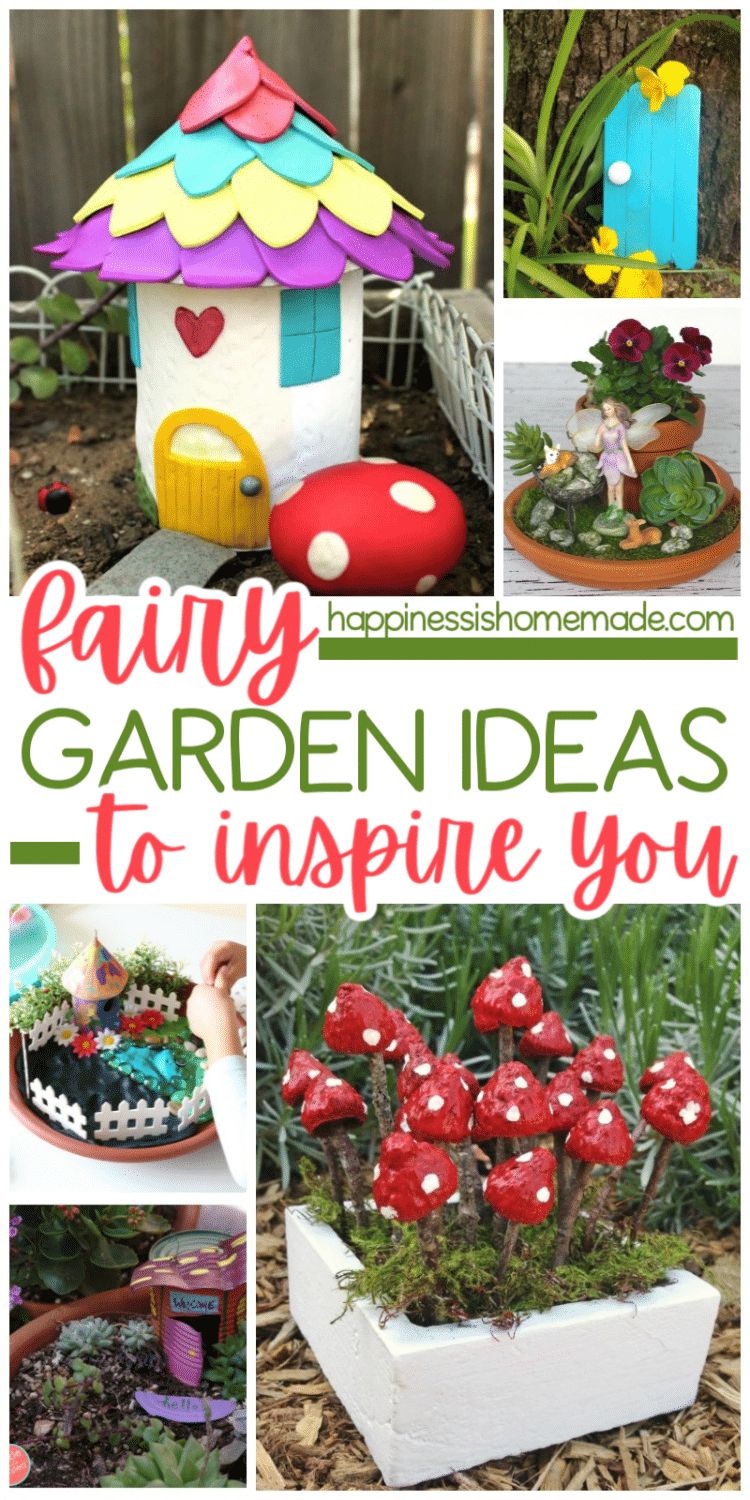 Fairy garden ideas to inspire you with multiple pictures of fairy gardens containing fairy figurines and painted pots to look like mushrooms