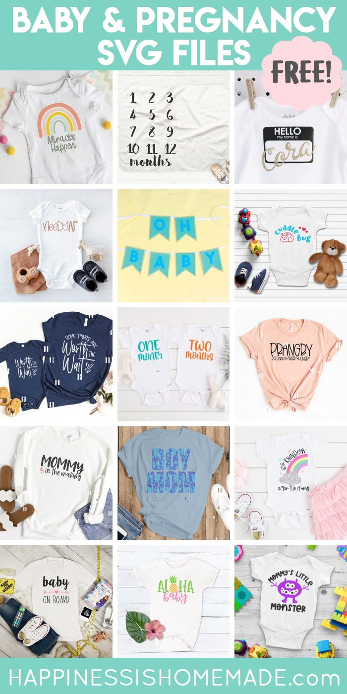 Collage of projects made with our collection of free baby and pregnancy SVG files