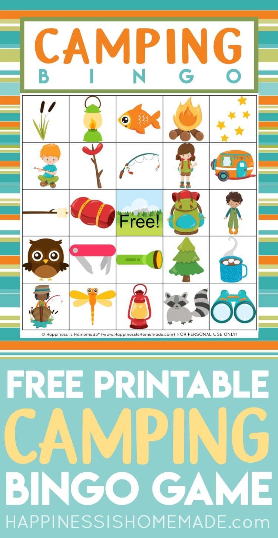 """Free Printable Camping Bingo Game"" graphic"