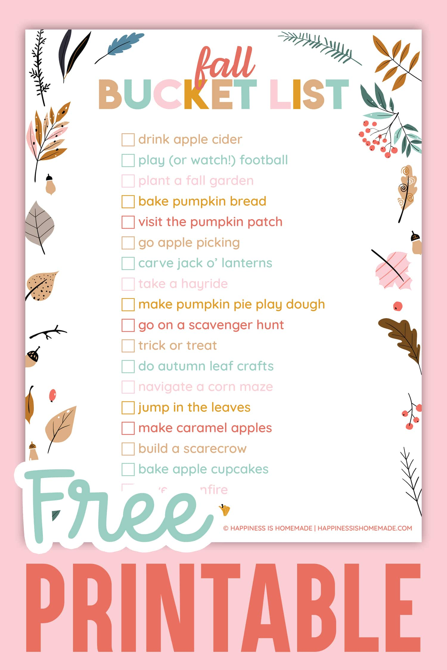 Printable Fall Bucket List Ideas on pink background
