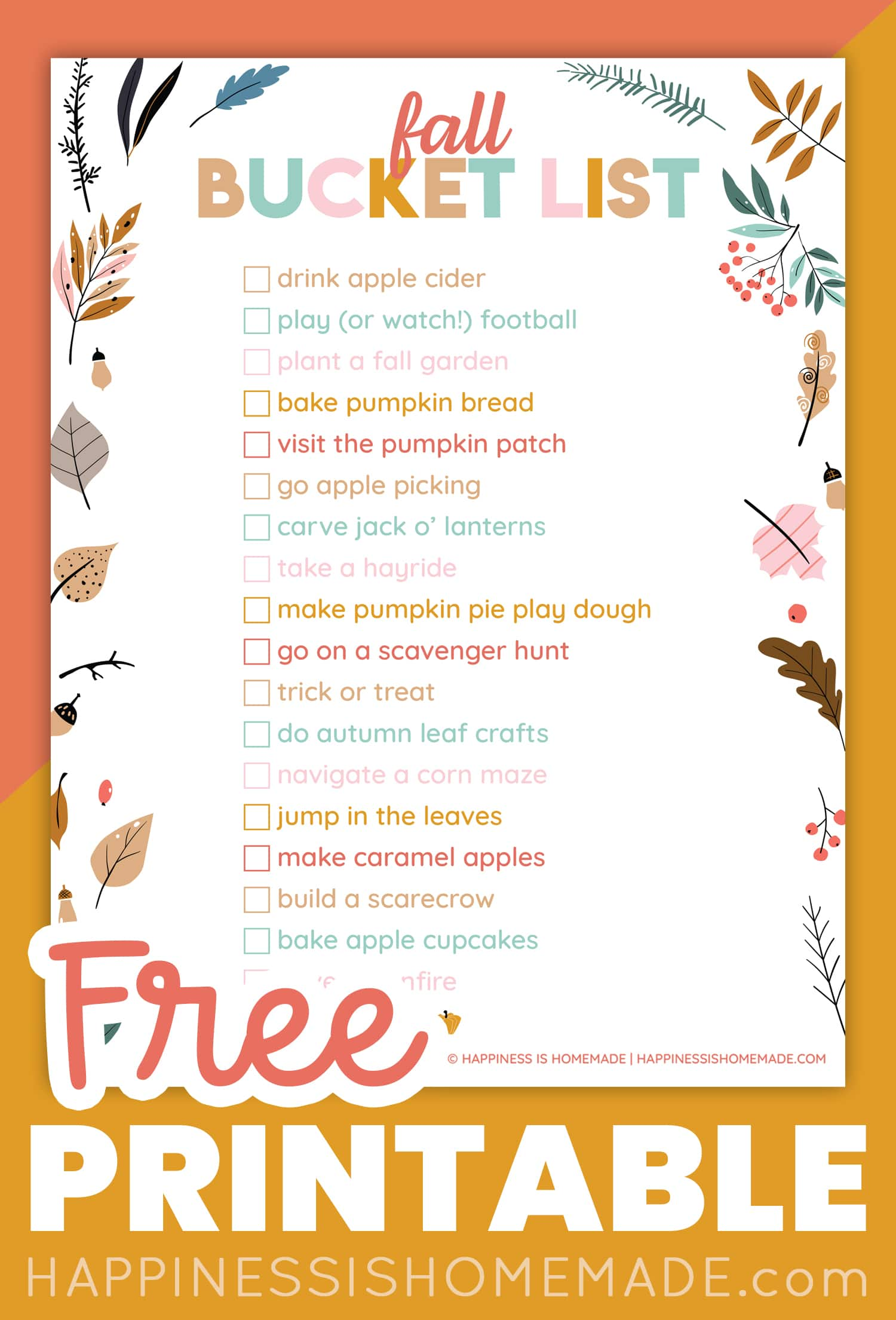 Printable Fall Bucket List Ideas