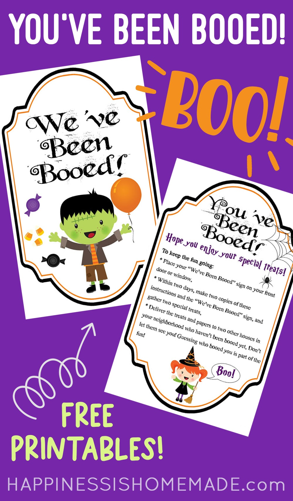 You've Been Booed and Weve Been Booed Printables on Purple Background