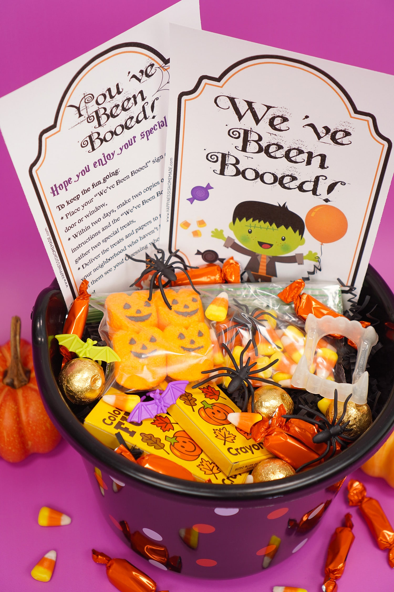 """Boo Basket filled with Hallowen candy and novelty toys with """"You've Been Booed""""and """" We've Been Booed"""" printable signs on purple background"""