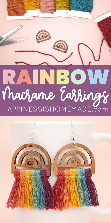 Make These Cute Rainbow Earrings with Macrame pin
