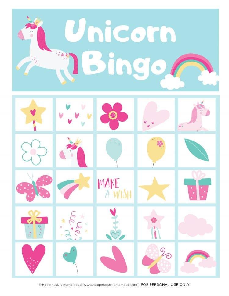 Printable Unicorn Bingo Card - single card graphic