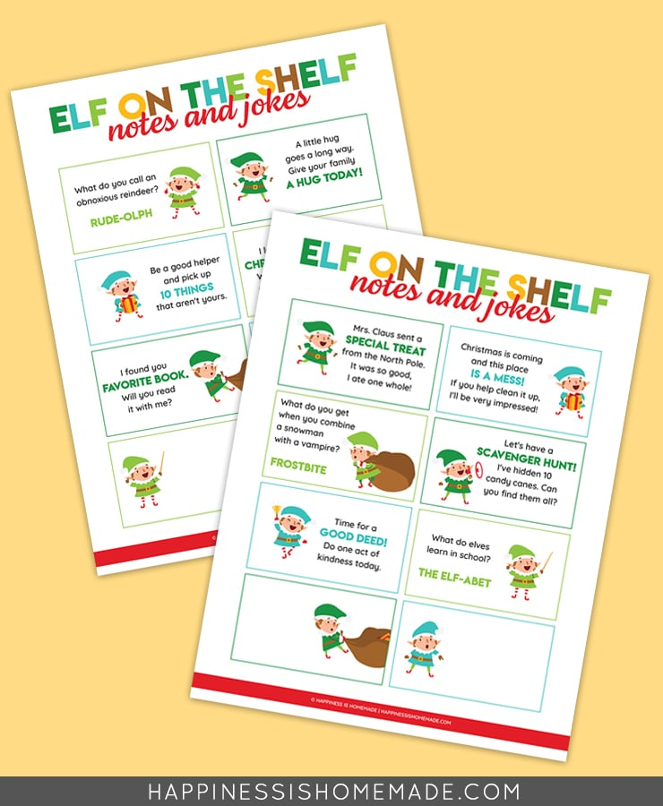 Elf on the Shelf Notes and Jokes graphic on yellow background