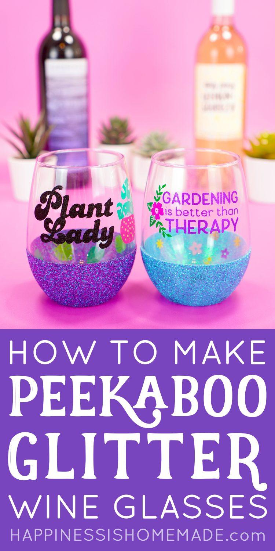 """How to Make Peekaboo Glitter Wine Glasses"" graphic"