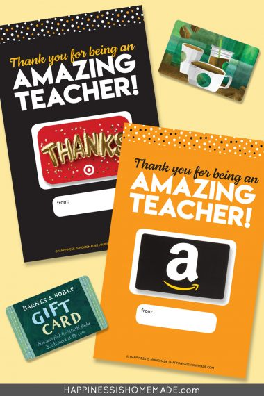 "Graphic of ""Thank You for Being an Amazing Teacher"" printable gift card holders with gift cards on yellow background"