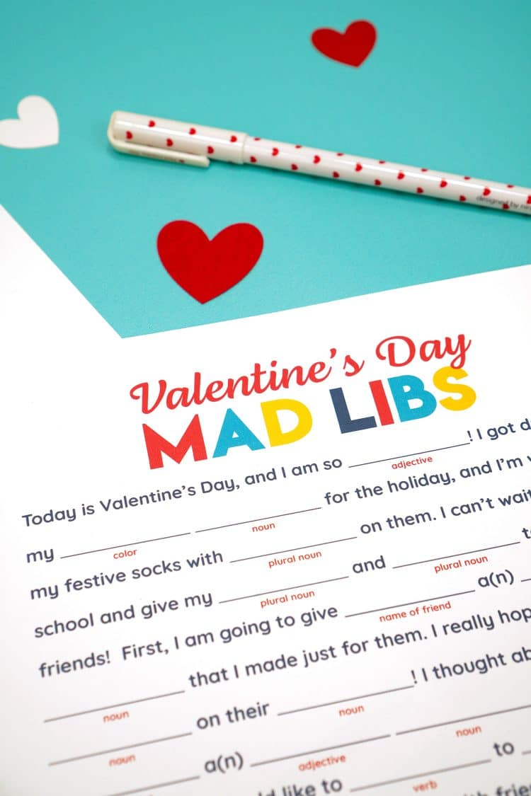 Close-up of Printable Valentines Day Mad Libs