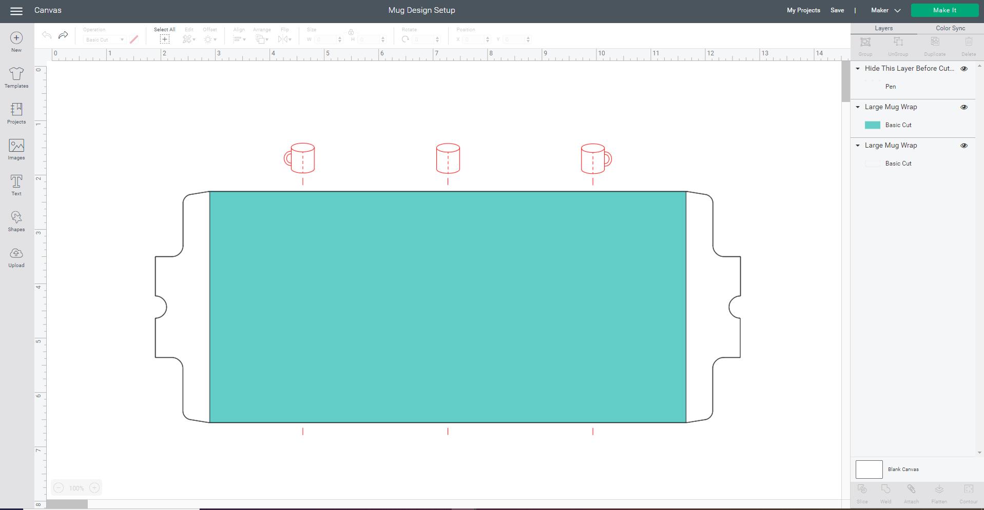 Cricut Design Space screenshot - Mug Design Setup canvas