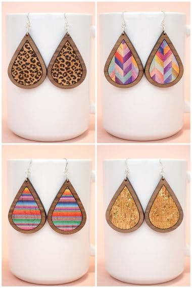 Collage image of four different patterns of cork and laser cut wood earrings displayed