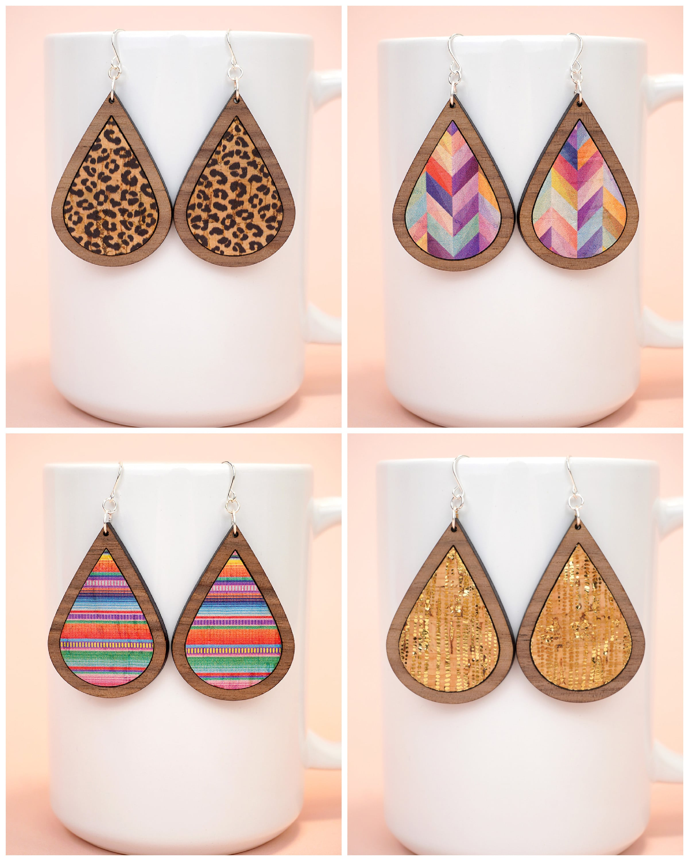 Collage of four styles of cork and laser cut wood earrings - leopard print, colorful herringbone, metallic gold, and colorful serape print.