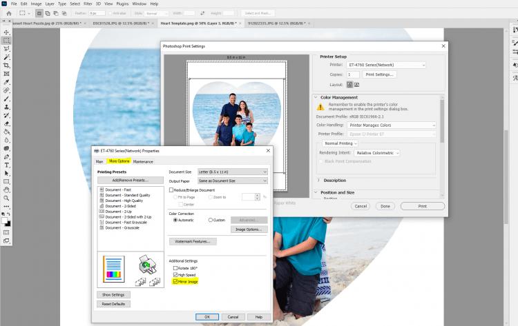 Screenshot of printer settings in Photoshop - mirror image