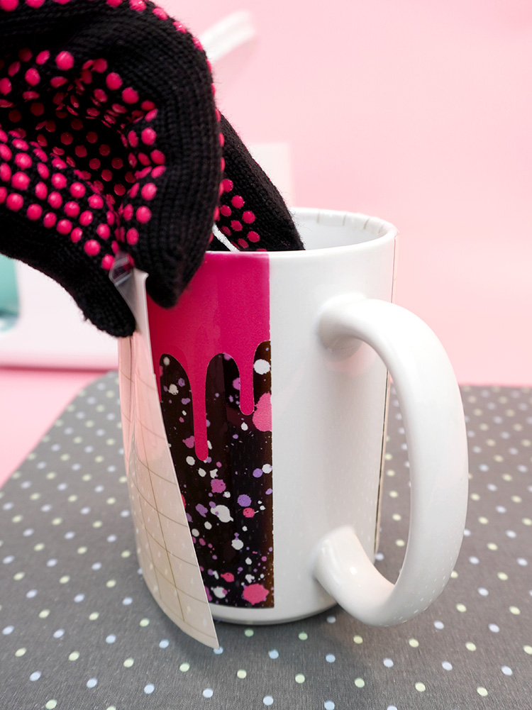 """Infusible Ink mug """"peel and reveal"""" with heat safe gloves"""