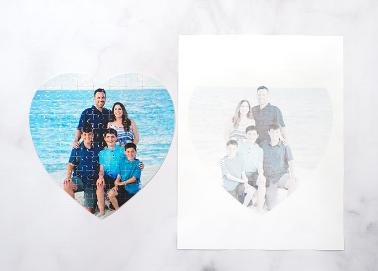 Vibrantly colored photo puzzle next to faded printed image on sublimation paper