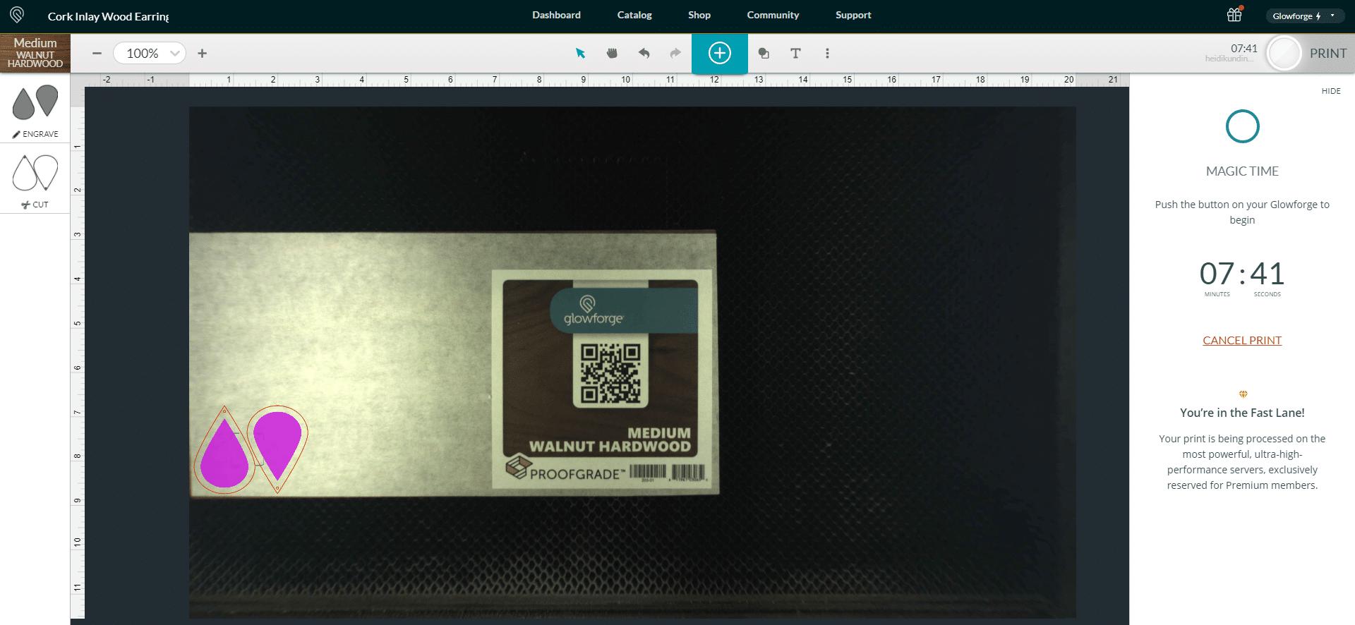 Glowforge App Software Screenshot - Earring Print Time