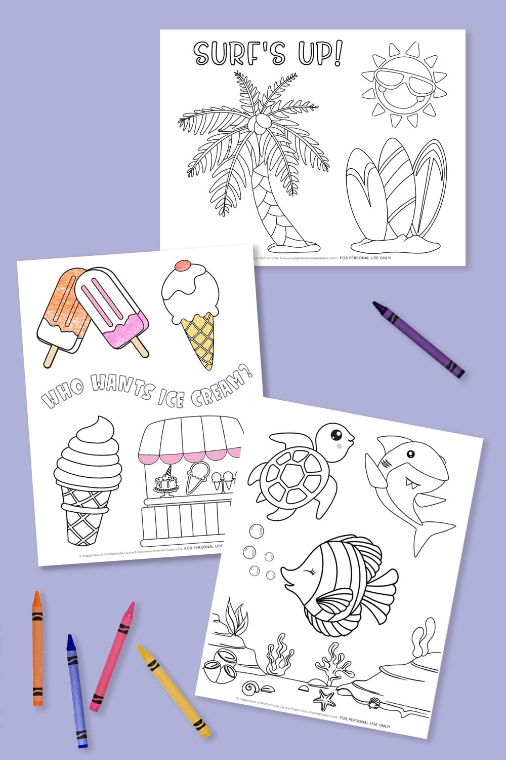 Three summer coloring pages on a lavender background with crayons