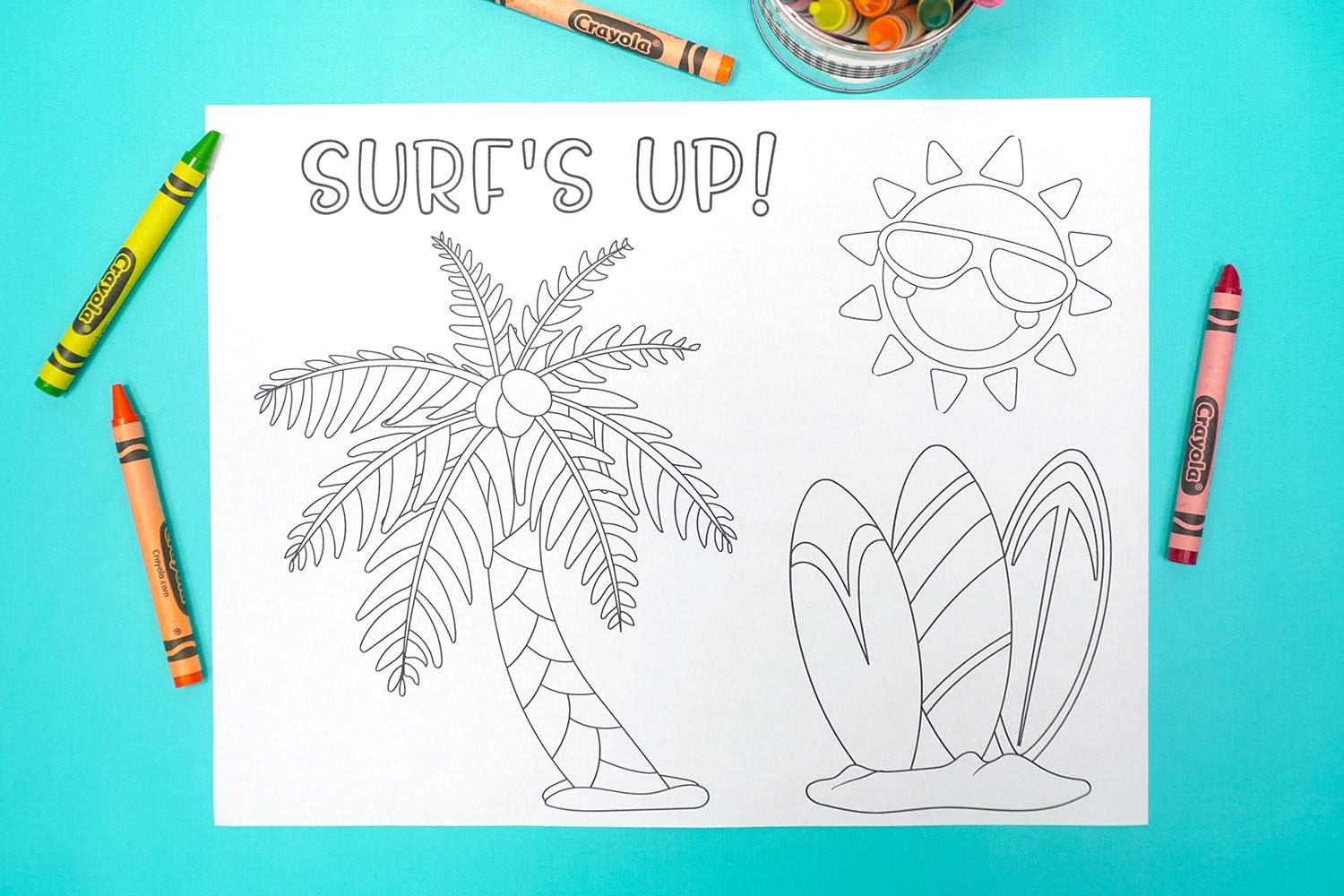 """""""Surf's Up!"""" Coloring Page on aqua background with crayons"""