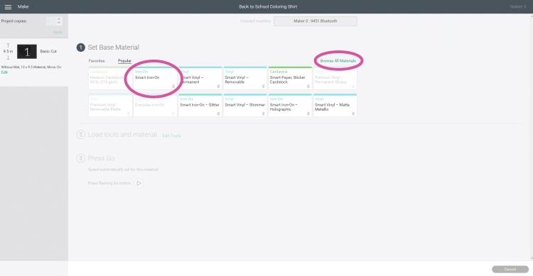 Software Screenshot - Materials Selection in Cricut Design Space