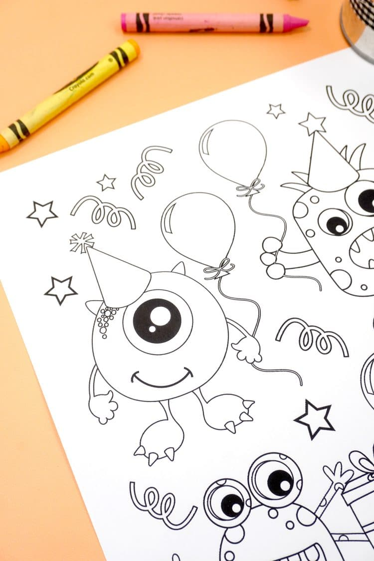 Close up detail of one-eyed monster with balloon on a monster coloring page