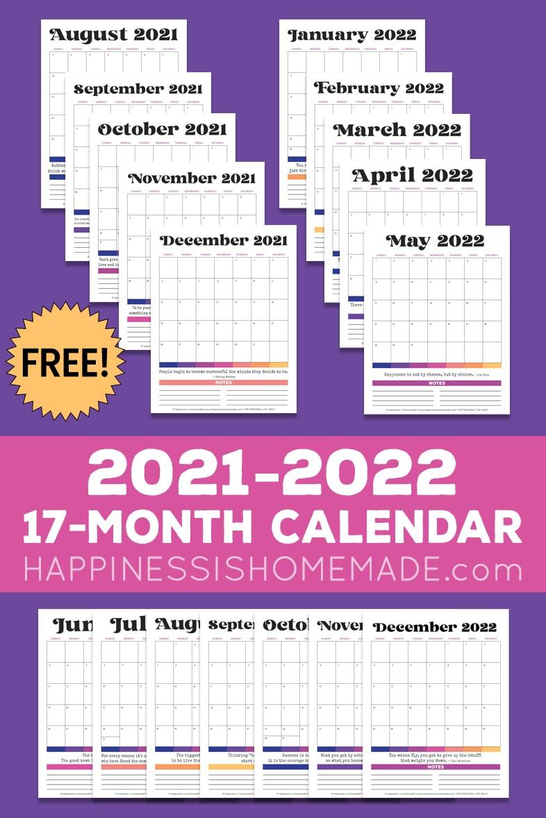Seventeen 2021 2022 free printable calendar graphics on a purple background